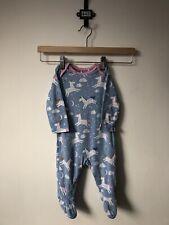 Mothercare Baby Blue Unicorn Rainbow Print Sleepsuit Babygrow, Size 3-6 Months