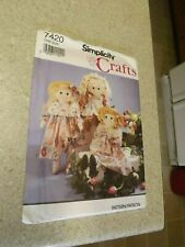 """Simplicity Sewing Pattern 7420 Rag Doll 24"""" & Clothes"""