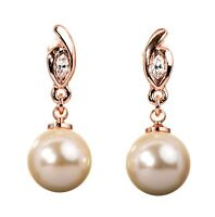Swarovski Elements Crystal Pearl Pierced Earrings Rose Gold Authentic 7305v