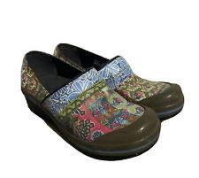 Dansko Floral Patchwork Clog Slip Resistant Shoes Vegan Canvas EUR 37
