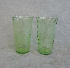 2 JUICE GLASS TUMBLERS VINTAGE REVERSE POLKA DOT DEPRESSION GREEN VASELINE