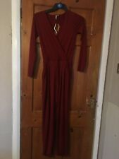 Asos Dark Red Jersey Cut Out Back Detail Jumpsuit Size 8