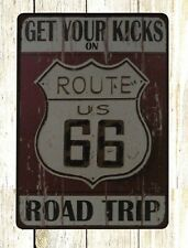 Us Seller- cafe pub metal wall art Get your Kicks Route 66 Road Trip metal sign