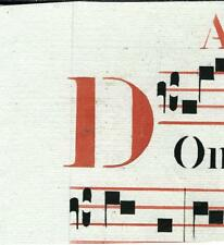 Manoscritto antico CAPOLETTERA D rosso ANTIFONARIO MUSICA 1850 ca. Drop Cap