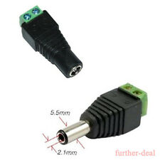 1 Pair DC Power Supply Adapter Jack Male Female Connector Plug 5.5x2.1mm For Led