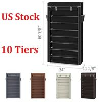 10 Tiers Shoe Rack with Dustproof Cover Closet Shoe Storage Cabinet Organizer
