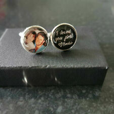Cufflinks round personalised with any photo, image, text. wedding birthday gift
