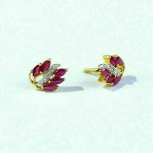 1.80Ct Marquise Cut Ruby & Diamond Woman's Stud Earring's 4K Yellow Gold Finish
