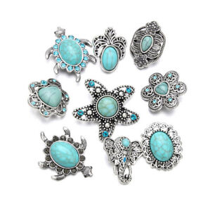 9pcs Crystal Turquoise Style Charm Snap Button Fit For Noosa Necklace/Bracelet