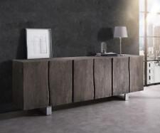 Kommode Live-Edge Akazie Platin 220 cm 6 Türen Massivholz Sideboard Baumkante