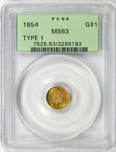 1854 G$1 Type 1 Gold Dollar PCGS MS63 OGH