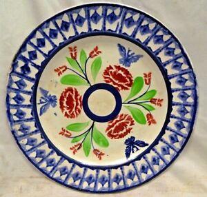 Vintage Esponja Ware Inglés Cerámica Placa Porcelana Decorativa Collectibles