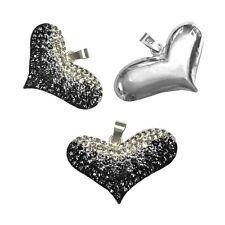 3D Herz Anhänger Weiss Schwarz Zirkonia Strass Kette Kristalle 925 Silber