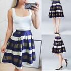 Vintage Stripe Print A-Line Pleated Midi Skater Skirt High Waist Ball Gown Dress