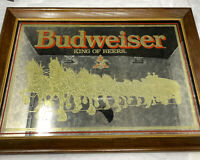 """Vintage 70's 80's Budweiser King of Beers Clydesdale Bar Mirror Sign 21"""" x 15"""""""