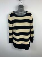WOMEN PAPAYA BLACK/WHITE STRIPE CREW NECK CASUAL JUMPER SWEATER PULLOVER SIZE 14