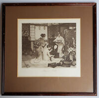 Antique framed chinoiserie art print Japanese Toilette by Firmin-Girard 16X16