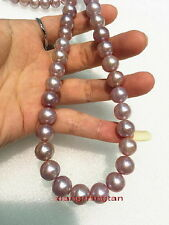 """AAAAA 17""""9-10mm REAL NATURAL south sea PINK purples lavender pearl necklace 14K"""