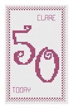 50th Birthday Pink Cross Stitch Card Kit by Florashell