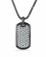 High Polished Tungsten Carbide Dog Tag Plain Engravable Pendant Men's Necklace