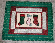 """Christmas Stockings Hand Made & Quilted Wall Hanging Home Holiday Decor 23""""x 28"""""""