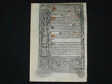 LARGE Printed Medieval Vellum Book of Hours Leaf, Painted Gold Initials, c.1503