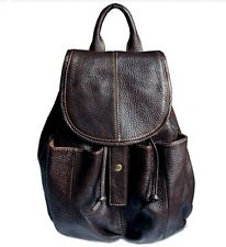 Fashion Women Girl 100% Real leather Drawstring Bag Backpack Rucksack School Bag