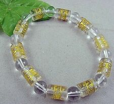 S# Tibetan white Synthetic crystal Bead carve om mani padme hum Amulet Bracelet