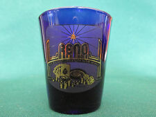 RENO,   BIGGEST LITTLE CITY IN THE WORLD    COBALT BLUE & GOLD SHOT GLASS