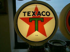 gas pump globe, TEXACO 2 GLASS LENSES in a PLACTIC BODY & LAMP STAND, NEW