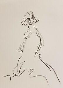 "JOSE TRUJILLO Original Charcoal - Paper Sketch Drawing 9X12"" FIGURE NEW ART 007"