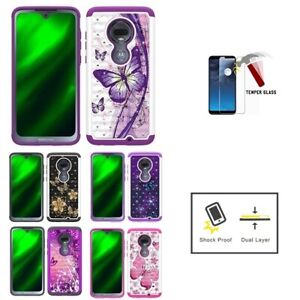 For Motorola REVVLRY Plus, Hard Double Layer Crystal Butterfly Cover Case