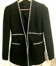 ❗️  ZARA SMART BLACK KNITTED TWEED BLAZER JACKET COAT SIZE M  MEDIUM NEW