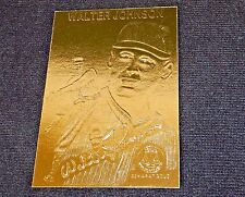 Walter Johnson. ~ 22k Gold Foil Baseball Card, 1996, Plastic Holder, w/Serial#
