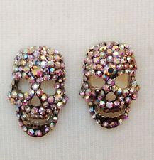 SILVER SKULL CLIP ON EARRINGS / RAINBOW CRYSTALS STONES / STATEMENT CLIP ON