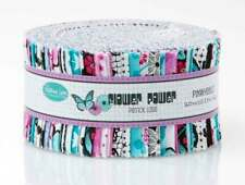 FLOWER POWER AQUA PATRICK LOSE FABRICS PINWHEEL JELLY ROLL 40 PCS 2.5X44 STRIPS