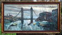exzellentes Ölgemälde Prunkrahmen London Tower Bridge signierte Künstlerarbeit