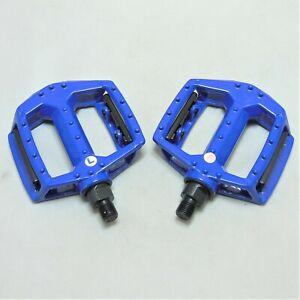 "MTB / BMX ALLOY Platform Pedals  1/2"" Thread - Blue with Orange Reflectors"