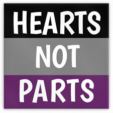 """HEARTS NOT PARTS Asexual Pride Metal Magnet, 2"""" Square LGBTQIA Ace Equality Love"""