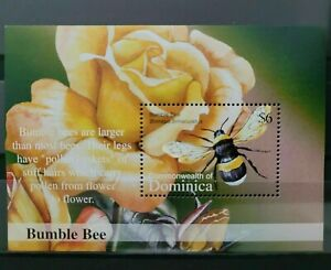 Dominica 2002 Bumble Bee Insect Fauna Flower Miniature sheet MNH