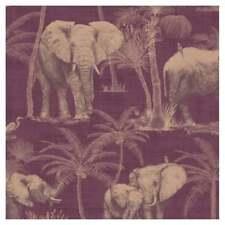 Arthouse Jungle Palm Elephant Grove Aubergine & Copper Metallic Wallpaper 610701