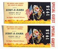 2 Vtg 1958 Los Angeles Area Council Boy Scouts Of America Guest Ticket Stubs