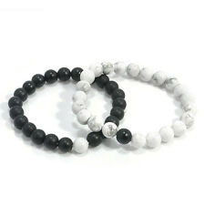2pcs New Couples His & Hers Distance Bracelet Lava Bead Matching Yin Yang Lovers