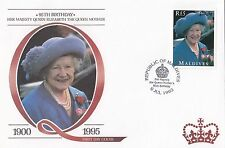 (94824) Maldives FDC Queen Mother 95th Birthday 6 July 1995