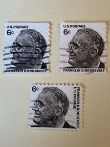 Authentic U S Postage 6 Cent Stamp Franklin D Roosevelt - Used - 3 Stamps