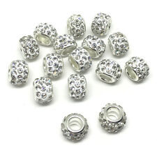 20pcs Big Hole Bracelet Spacer Micro Pave Disco Crystal  Rhinestones Beads Charm