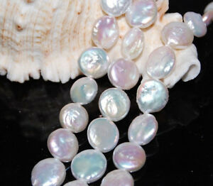 """13-14mm Natural White Coin Freshwater Cultured Pearl Loose Beads 15"""""""
