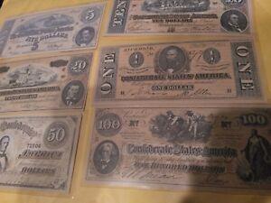 confederate banknote money facsimile bills 1864 $100, $50,$ 20, $10 $5 $1 NICE
