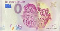 BILLET 0  EURO ZOO SPISSKA NOVA VES SLOVAQUIE  2018 NUMERO DIVERS