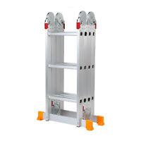 Aluminum Ladder Folding 12.3FT Step Scaffold Extendable Heavy Duty Platform NH